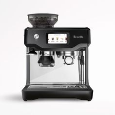 With five pre-programmed favorites and customizable brewing and steaming functions, this user-friendly espresso machine offers the best of both worlds. Choose from one of the automatic menu options-espresso, Americano, latte, flat white or cappuccino-on the touch-screen display, or program your preferred milk temperature, foam level, espresso volume and brewing duration. When you create a winner, give it a name and save it to the menu. Breville's unique ThermoJet system is hot and ready to… Machine A Cafe Expresso, Espresso Machine Reviews, Espresso Coffee Machine, Espresso Maker, Coffee Maker, Breville Espresso Machine, Coffee Shop, Latte Art, Barista