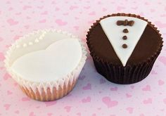 Tuxedo and Wedding dress cupcakes