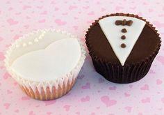 Tuxedo and Wedding dress cupcakes