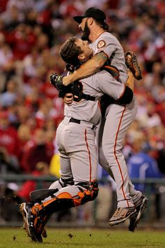 Brian Wilson and Buster Posey Photo - San Francisco Giants v Philadelphia Phillies, Game 6