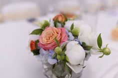 White peonies, blooming rose and baby blue hydrangea - amaizing combination for a romantic wedding.
