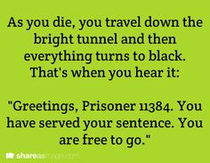"As you die, you travel down the bright tunnel and then everything turns to black. That's when you hear it: ""Greetings, Prisoner 11384. You have served your sentence. You are free to go."""