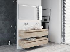Model: Coast Width: 120 cm Color: Beach Wood Type: C Concrete Basin, Concrete Bathroom, Dream Bathrooms, Amazing Bathrooms, Black Sink, Wall Hung Toilet, Interior Design Business, Large Shower, Vanity Units
