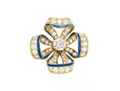 Antique Diamond, Enamel and 18K Gold Bow Brooch, circa 1900 « Dupuis Fine Jewellery Auctioneers