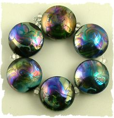 "Lampwork ""oil slick"" beads - by Loving Lampwork Beads"