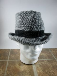 7c00345da6b61 Fedora Winter Crochet Hat For Men Women Unisex Dark by