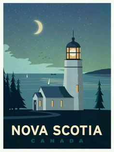 Vintage Travel Travel Poster from IdeaStorm Nova Scotia Canada - Size - Digital Print on 80 lb cover matte white *SHIPPING DETAILS* Items will be mailed out in tubes within 3 days after order. Poster Vintage, Vintage Travel Posters, Retro Posters, Movie Posters, Poster Art, Gig Poster, Travel Illustration, Digital Illustration, Canada Travel