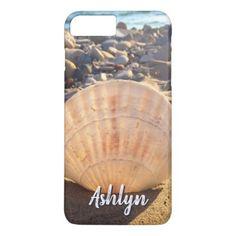 California sandy beach seashell photo custom name iPhone 8 plus/7 plus case - ocean side nature waves freedom design
