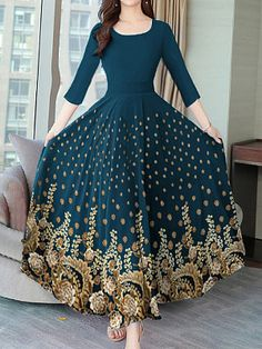 Autumn And Winter Vintage Print Dress Maxi Dress - Look Fashion Polka Dot Maxi Dresses, Floral Maxi Dress, Cheap Dresses Online, Dress Silhouette, Maxi Dress With Sleeves, Look Fashion, Latest Fashion, Beautiful Dresses, Ideias Fashion