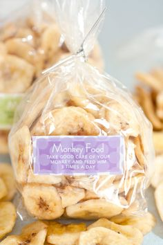 Banana chips make the perfect healthy snack and party favor for a monkey or jungle party.