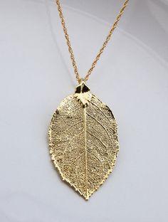 ♥ Gold electroplated Real Rose leaf pendant necklace.