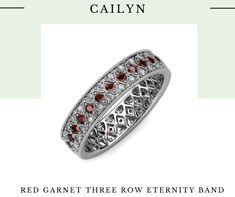 Queen, Red Garnet, Eternity Bands, Jewelry Stores, The Row, Jewelry Collection, Wedding Bands, Diamonds, White Gold
