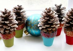 Easy DIY: Mini Pinecone Tree Pots: only takes 15 minutes (minus drying time) to make!