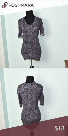 Ann Taylor Dark Grey & White Printed Blouse In excellent condition! WORN ONCE! Beautifully made and a very high quality blouse!  Super soft, stretchy, and lightweight! Buy 3 items and get 1 free plus 15% off your purchase total! Ann Taylor Tops Blouses