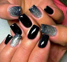 Black and Glitter Fingernail Designs