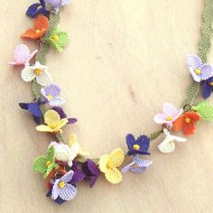 Turkish OYA Lace - Silk Necklace -Festival Purple Crocheted Jewelry Wedding Bib Flowers Accessories Dresses Jewelry by DaisyCappadocia on Etsy