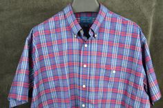 Towncraft mens XXL 2XL SS Blue Red button front cotton poly shirt FREE SHIPPING #Towncraft #ButtonFront