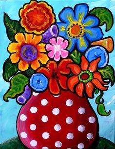 Folk Art Flowers, Flower Art, Colorful Flowers, Flowers Vase, Drawing Flowers, Acrylic Painting Flowers, Watercolor Paintings, Owl Paintings, Indian Paintings