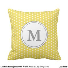 Custom Monogram with White Polka Dots on Yellow Outdoor Pillow Custom Halloween Throw Pillows and Cushions Yellow Throw Pillows, Decorative Throw Pillows, Outdoor Pillow, Polka Dots, Cushions, Monogram, Christmas Pillow, Halloween, Holiday