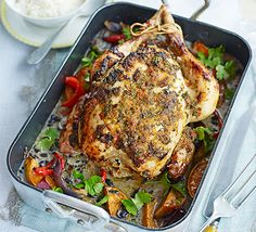 Add some spice to your Sunday lunch by marinating your bird, then use the juices to create a coconut veggie curry to serve alongside Roast Chicken, Slow Cooker Chicken, Bbc Good Food Recipes, Cooking Recipes, Clean Recipes, Drink Recipes, One Pan Meals, Roasting Pan, Stuffed Whole Chicken