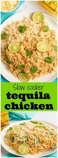 Slow cooker tequila chicken - an easy, healthy dinner that's great for rice bowls, tacos and wraps