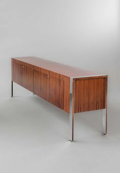 Joseph-André Motte; Chromed Metal and Rosewood 'Prestige' Sideboard for Dassas, 1962.