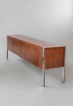 Joseph-André Motte; Chromed Metal and Rosewood 'Prestige' Sideboard for Dassas, 1962.