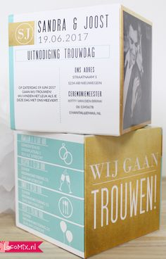 Een originele #trouwkaart die jullie helemaal kunnen #personaliseren vind je bij #LocoMix! Teksten, kleuren en foto's jullie kunnen de #trouwkaart die uit de envelop springt helemaal naar jullie wensen aanpassen! #Wedding #invitations #personalised