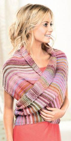 Multiway Wrap - free pattern @ Let's Knit (need to register)  für meine Resteverwertung