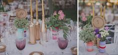 Una boda muy elegante. | decoracion mesas de boda / botellas color oro/