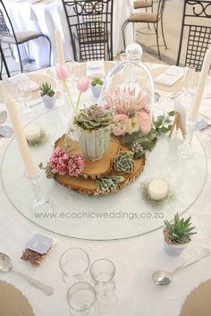 Johannesburg Wedding Flowers - Gauteng wedding flowers and decor - Wedding planner Succulent Arrangements, Table Arrangements, Centrepieces, Wedding Centerpieces, Wedding Table, Succulents, Wedding Decorations, Table Decorations, Bell Jars