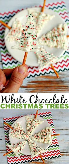 White Chocolate Christmas Trees make for a pretty and complicated looking treat. They certainly make a wonderful addition to any Christmas treat plate! (christmas party treats for kids dipped pretzels) Christmas Deserts, Christmas Goodies, Holiday Cookies, Christmas Fun, Holiday Recipes, Christmas Parties, Christmas Cookies Packaging, Chocolate Christmas Gifts, Christmas Baking
