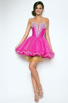 Online shopping 2013 Prom Dresses A Line Short Mini Pink Sweetheart Organza Beading Sequince affordable in vogue for each occasion. Latest design of  cheap formal dresses & wedding gowns on sale for fashion women and girls.