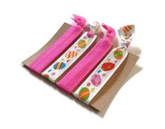 Elastic Hair Ties Pink Easter Eggs Holiday No by MadebyMegToo on Etsy $5