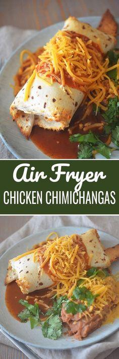 Air Fryer Chicken Chimichangas - Recipe Diaries Shared by Career Path Design Tostadas, Tacos, Enchiladas, Burritos, Chorizo, Guacamole, Cooks Air Fryer, Actifry Recipes, Air Fryer Oven Recipes