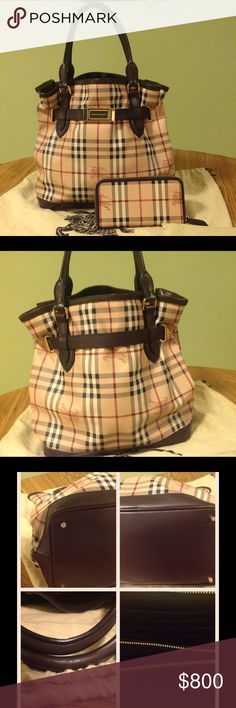 """Authentic Burberry bag & wallet set Authentic Burberry bag and wallet set. It is plaid leather with brown trim and straps. Gold color hardware. The inside has 3 compartments. The middle has zipper. Sides have several compartments.The inside is clean with no stains. The handles are in good condition. No long strap. It shows a little wear around the edges at the bottom. Approx 13"""" high not including handles. 15"""" wide. The wallet is in great condition. Zipper open with several compartments…"""