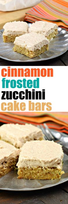 Easy and delicious, these chewy Cinnamon Frosted Zucchini Cake Bars are the perfect sweet dessert any time of year! Serve chilled for extra flavor!