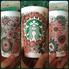 Vintage floral design for Loves Loves white cup contest! Went with peach, green, and brown for that antique feel :) it's fun to doodle! Coffee Cup Drawing, Coffee Cup Art, Coffee Painting, Arte Starbucks, Starbucks Cup Design, Personalized Starbucks Cup, Sharpie Markers, Paper Cups, White Cups