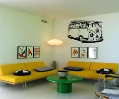 Old School VW Bus Detailed  Driving Mural - surf and vintage retro inspired  -vinyl wall art decals sticker by 3rdaveshore on Etsy, $70.00
