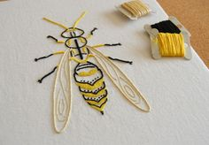 Anatomical Wasp modern hand embroidery by KFNeedleworkDesign