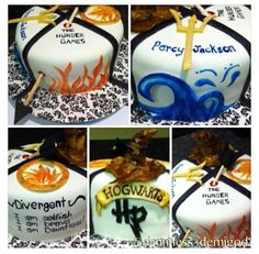 Fandom cake with Hunger Games, Percy Jackson, Divergent, & Harry Potter. Great idea.