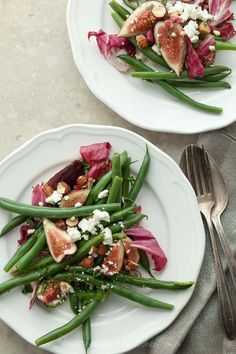 Fig, radicchio, and green bean salad with hazelnuts and feta.