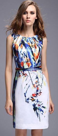 Stylish Floral Print O-Neck Sleeveless Bodycon Dress Vestidos Vintage, Vintage Dresses, Business Dress, Casual Dresses For Women, Clothes For Women, Watercolor Dress, Costume, Women's Fashion Dresses, Designer Dresses