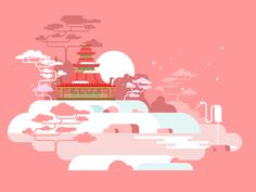 Pagoda - Tap to see more cool flat vector minimalist design art illustrations wallpaper Art And Illustration, Flat Design Illustration, Illustrations And Posters, 2d Game Background, Posca, Clipart, Pixel Art, Game Art, Vector Art