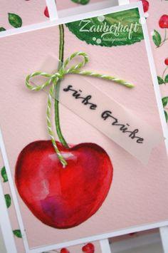 Zauberhaft handgemacht, Karte, Geburtstag, Charlie und Paulchen, Süße Grüße, Kirschen, Trifold Panel Card