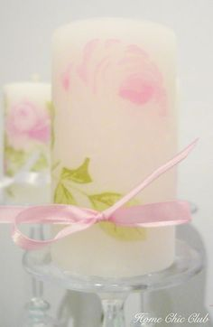 Personalised Candles - Decoupage on Candles