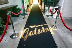 Custom Entrance -- Great Gatsby Black carpet with gold/ivory/or black ropes Great Gatsby Party, Gatsby Themed Party, 1920s Party, Themed Parties, 40th Birthday Parties, Anniversary Parties, Wedding Anniversary, Harlem Nights Theme, O Grande Gatsby