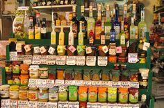 The Sicilians are masters of pesto. At the Capo market in Palermo, a rainbow of pestos.  Photo: Julia della Croce
