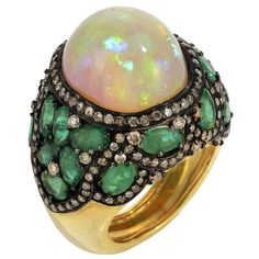 KRIS'S OPAL FAB RING by Graziela Gems - Natural opal cabochon, natural Brazilian emerald ,diamonds set in 18k gold plated sterling silver