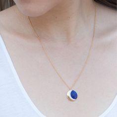 Lapis Moon Phase Necklace - Jewelry - Catbird